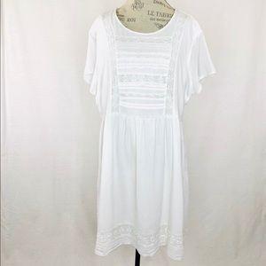 Old Navy White Short Sleeve Lace Midi Dress Sz XXL